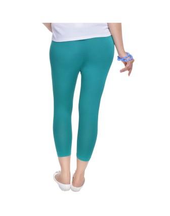 Suti Womens Plain 3/4 Length Leggings, Teal