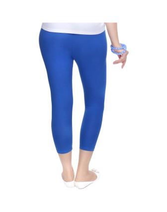 Suti Womens Plain 3/4 Length Leggings, True Blue