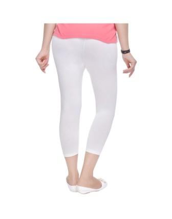 Suti Womens Plain 3/4 Length Leggings, White