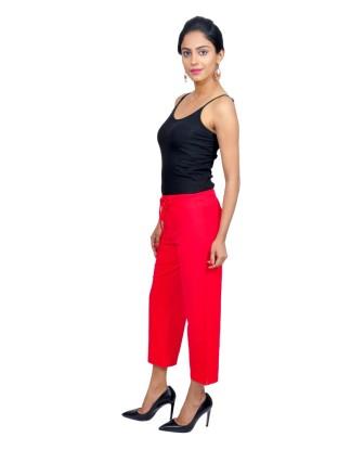 Suti Womens Cotton Lycra Capri Pant, Poppy Red