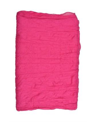Suti Womens Chiffon Plain Dupatta With Lace, Fuscia