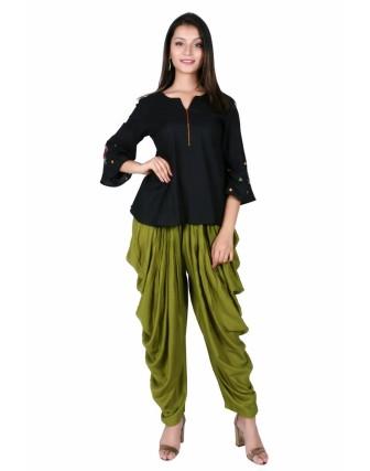 Olive Green Dhoti Patiyala