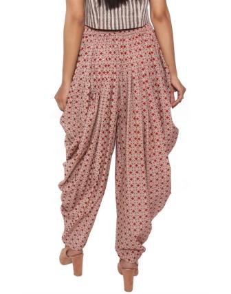 Suti Women`s Cotton Printed Dhoti Patiala, Red