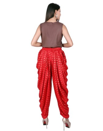Suti Women`s Rayon Printed Dhoti Patiala, Poppy Red