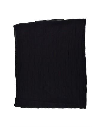 Suti Womens Cotton Plain Dupatta With Lace, Black