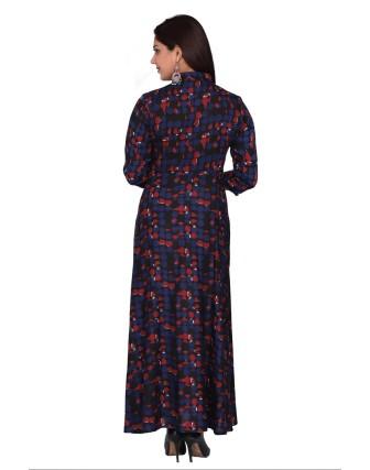 SUTI WOMENS RAYON STAPLE PRINTED DRESS, BLACK
