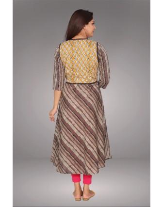 SUTI WOMENS COTTON DIAGONAL PRINTED DRESS, KASHISH