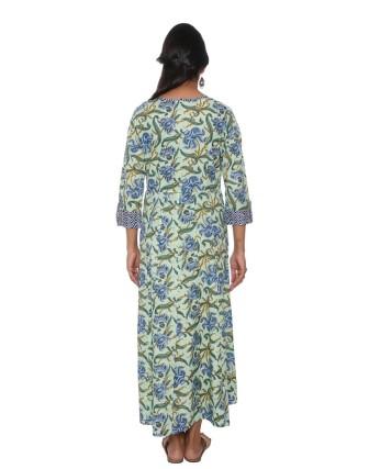 SUTI WOMENS COTTON CAMBRIC FLOWRAL PRINT DRESS, GREEN