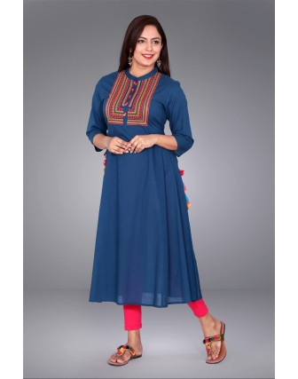 SUTI WOMENS COTTON EMBROIDED DRESS, BLUE
