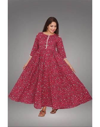SUTI WOMENS COTTON KALIDAR PRINTED DRESS, PINK