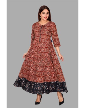 SUTI WOMENS COTTON CAMBRIC PRINTED A-LINE DRESS, MAROON