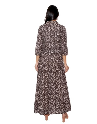 SUTI WOMENS COTTON STYLISHED CAMBRIC PRINTED DRESS, BLACK