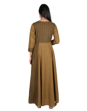 Suti Womens Cotton A Line Fit Dress, Olive Green
