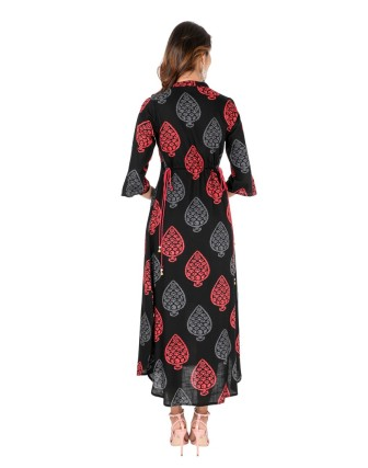 Black Red Chinese Collar Button Work 3/4 Sleeves Long Dress