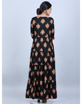 Black Round Neck Latkan Work 3/4 Sleeves Long Dress