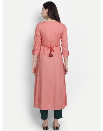 Suti Womens Rayon Slub Embroidery Flared Dress Lantana