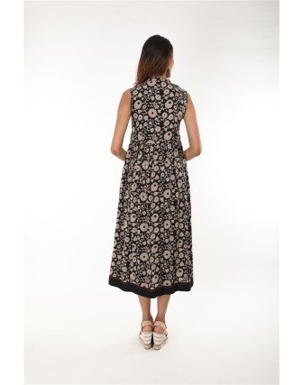Black Chinese Collar Metal Button Work Sleeveless Long Dress