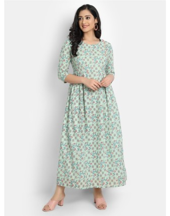 SUTI WOMEN'S COTTON FLORAL PRINTED LONG DRESS WITH SEQUENCE AND BUTTON WORK, FOG GREEN