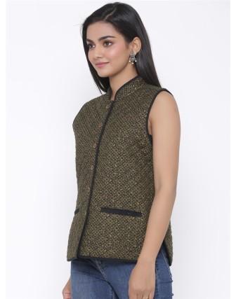 Suti Womens Cotton Regular Fit Jacket, Army Green