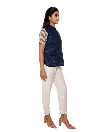 Suti Womens Cotton Regular Fit Jacket, Navy Blue