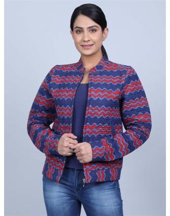 Suti Womens Cottonslub Straight Fit Jacket, Blue