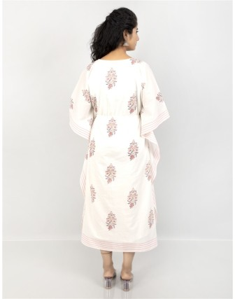 Suti Women's Cotton Beautiful Printed Kaftan with Drawstring at Waist, Pink