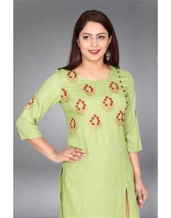 SUTI WOMENS RAYON LADIES EMBROIDED COMBO, PISTA GREEN