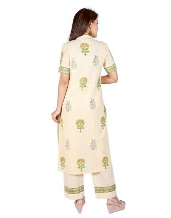 Suti Womens Cotton Slub Straight Fit Combo, Transparent Yellow
