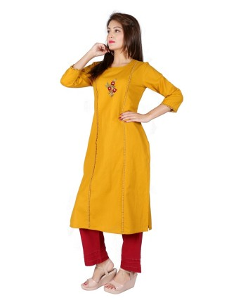 Suti Women`s Cotton Flex Solid Embroidery Straight Kurta with Palazzo Set, Mustered