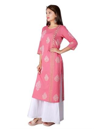 Suti Women`s Cotton Straight Stitch Dobby Block Printed Kurta Set, Pink