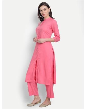 Anagh Womens Rayon Modal Party Wear Kurta Set Pink