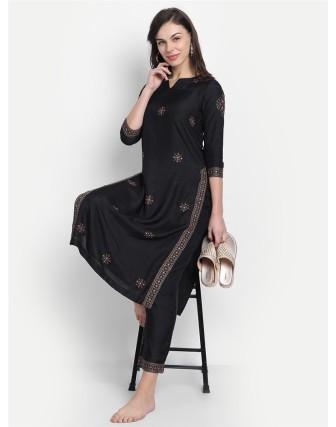 Anagh Womens Dola Silk Embridered Kurta Set Black