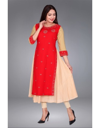 SUTI WOMENS COTTON EMBROIDED DOUBLE LAYER KURTI, RED