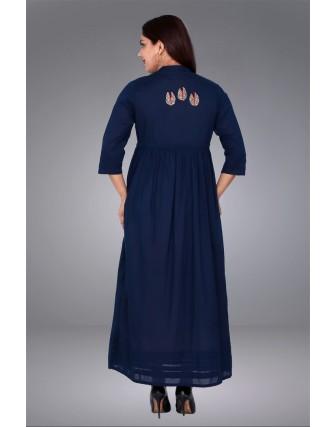 SUTI WOMENS COTTON DOUBLE LAYER KURTI, NAVY BLUE