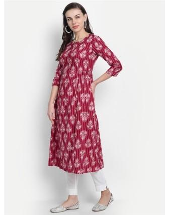 Suti Womens Cotton Kurti, Maroon