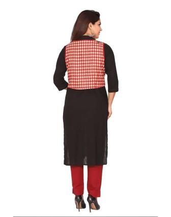 Suti Black Long Kurti With Printed Jacket