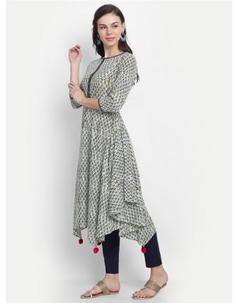 Suti Womens Cotton Kurti, Navy Blue