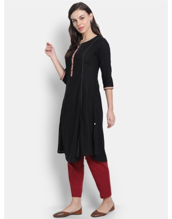 Suti Womens Cotton Kurti, Black