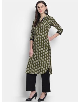 Suti Womens Cotton Kurti, Green