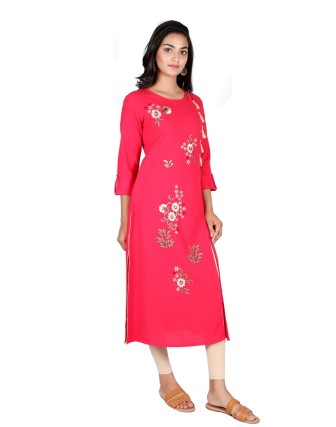 SUTI WOMENS COTTON EMBOIDERED FRONT SLIT OPEN KURTI, FRENCH ROSE