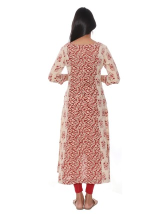 Suti Womens Cotton A Line Fit Kurti, Red