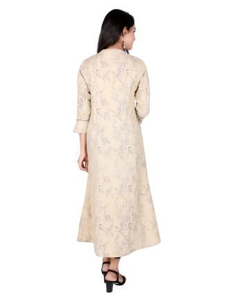 Suti Womens Cotton A Line Fit Kurti, Fawn
