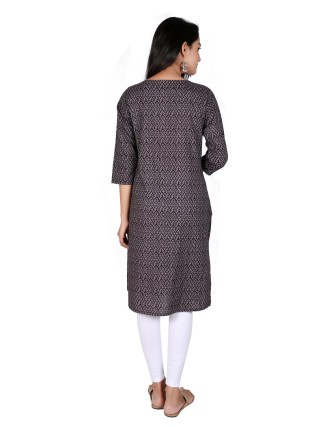 Suti Womens Cotton Straight Fit Kurti, Black