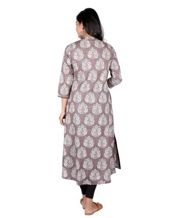 Suti Womens Cotton A Line Fit Kurti, Grey