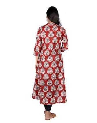 Suti Womens Cotton A Line Fit Kurti, Maroon