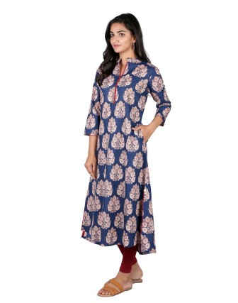 Suti Womens Cotton A Line Fit Kurti, Navy Blue