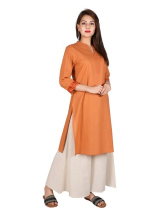 Suti Women`s Cotton Embroidered Mid Length Straight Kurti with MS Work, Dusty Orange