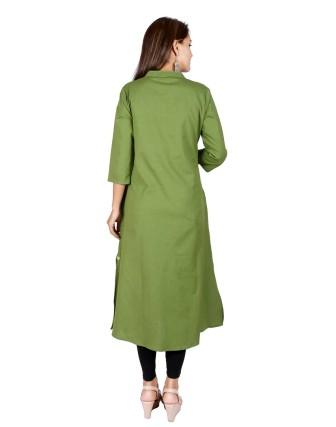 Suti Womens Cotton Flex A Line Fit Kurti, Green