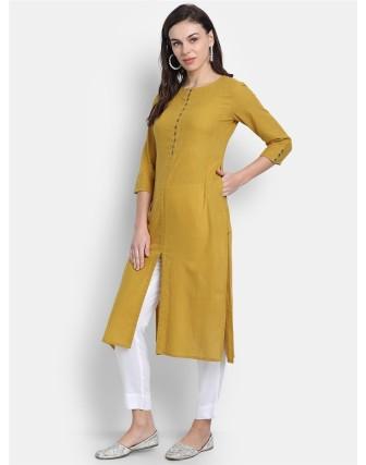 Suti Womens Cotton Slub Straight Long Kurti Dark Mustard