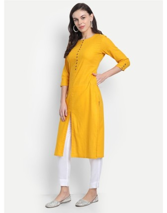Suti Womens Cotton Slub Straight Long Kurti Yellow